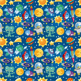 Seamless space pattern. Illustration Stock Image