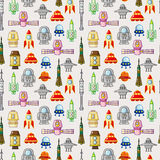 Seamless space pattern. Cartoon vector illustration Stock Images