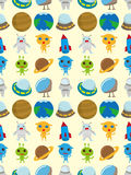 Seamless space pattern. Cartoon vector illustration Royalty Free Stock Image