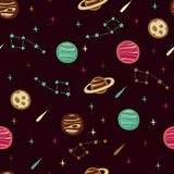 Seamless Space Pattern with Planets, Stars and etc. Seamless Space Pattern. Seamless Background with Space Elements Stock Photo