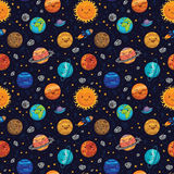 Seamless space pattern background with planets, stars and comets. Royalty Free Stock Photos