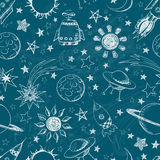 Seamless space pattern. Royalty Free Stock Photography