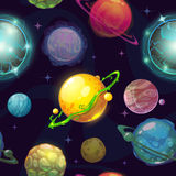 Seamless space pattern with cartoon planets. Childish vector space illustration, fantasy planets on space background, cool space wallpaper for kids design Stock Photography