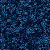 Seamless space pattern cartoon style. Seamless pattern - space objects in doodle cartoon style. Free hand drawing Royalty Free Stock Images