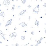 Seamless space pattern in doodle style. You can use each element separately Royalty Free Stock Photo