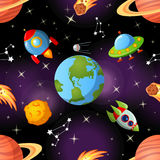 Seamless space pattern with Earth, saturn, UFO, rockets moon and stars. Childish seamless space pattern with Earth, saturn, UFO, rockets moon and stars Stock Photo
