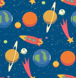 Seamless space pattern. Kid's elements for scrap-booking. Childish background. Universe vector illustration Royalty Free Stock Images