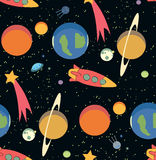 Seamless space pattern. Kid's elements for scrap-booking. Childish background. Universe vector illustration Royalty Free Stock Image