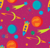 Seamless space pattern. Kid's elements for scrap-booking. Childish background. Universe vector illustration Stock Images