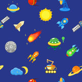 Seamless space pattern.  Planets, rockets and. Seamless space pattern. Planets, rockets and stars. Cartoon spaceship icons. Kid's elements for scrap-booking Stock Photography