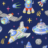 Seamless space pattern. Planets, rockets. And stars. Cartoon Spaceship and UFO icons. Vector Royalty Free Stock Photos