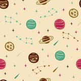 Seamless Space Pattern with Planets, Stars and etc. Seamless Space Pattern. Seamless Background with Space Elements Stock Photos