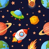 Seamless space pattern with planets, UFO, rockets and stars. Childish vector seamless space pattern with planets, UFO, rockets and stars Royalty Free Stock Images