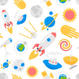 Seamless space pattern. Seamless space pattern with rockets, planets, stars background Stock Images