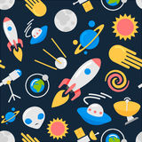 Seamless space pattern. Seamless space pattern with rockets, planets, stars background Royalty Free Stock Photos
