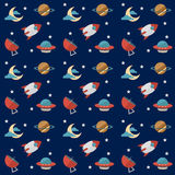 Seamless space pattern with rockets, planets, stars, scopes,moon, observatory and others equipments Royalty Free Stock Photography