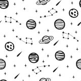 Seamless Space Pattern. Seamless Background with Space Elements. Seamless Space Pattern with Planets and Stars Royalty Free Stock Image