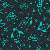 Seamless space pattern. With stars, space ships and aliens Stock Images