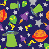 Seamless space themed background. Seamless and fully repeatable space themed background, with aliens, spaceships, UFO's, stars, planets and ray guns vector illustration