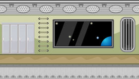 Seamless spaceship interior with big window and lockers for game design Royalty Free Stock Photography