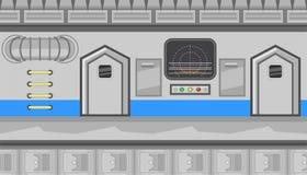 Seamless spaceship interior of corridor with gray monitor for game design Stock Photos