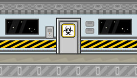 Seamless spaceship interior with door and warning line for game design Royalty Free Stock Photography