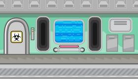 Seamless spaceship interior of green corridor for game design Stock Photography