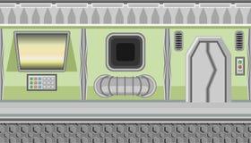 Seamless spaceship interior of green corridor and yellow monitor for game design Stock Photos