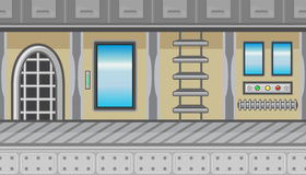 Seamless spaceship interior with ladder and blue windows for game design Stock Photos