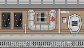 Seamless spaceship interior with pipe and manhole for game design Royalty Free Stock Photo