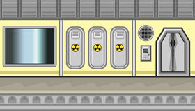 Seamless spaceship interior with three lockers and sign of radiation for game design Royalty Free Stock Images