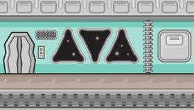 Seamless spaceship interior with triangular windows for game design Stock Photo