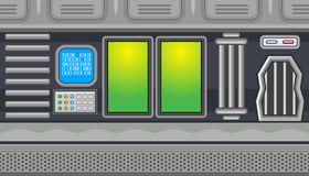 Seamless spaceship interior with two green windows for game design Royalty Free Stock Image
