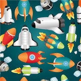 Seamless spaceship pattern. Drawing Royalty Free Stock Images