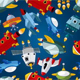 Seamless spaceship pattern Royalty Free Stock Image