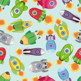 Seamless spaceship pattern Stock Images