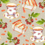 Seamless speckled background - tea cup, raspberry fruit, cakes. Watercolor Stock Images