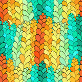 Seamless spica rye, tracery pattern, handmade. Seamless pattern in the form of colored rye. It looks like a stained glass window. Many colors, gradient, great Royalty Free Stock Image