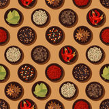 Seamless spices and seasonings pattern background Stock Image