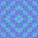 Seamless spiral ornaments blue purple turquoise. Geometric seamless background. Ornate and dreamy diamond pattern combined with spirals and ellipses in blue stock illustration