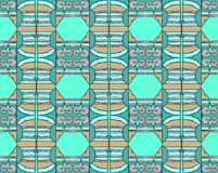 Seamless spiral pattern turquoise green brown pink. Abstract geometric seamless background, drawing. Regular hexagon and spiral pattern with wiggly lines in royalty free illustration