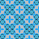 Seamless spirals pattern blue black gray. Abstract geometric seamless background. Spirals and ellipses in blue shades with black elements on light gray Stock Illustration