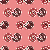Seamless spirals pattern pastel red brown white Royalty Free Stock Image