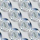 Seamless spirals pattern silver gray blue diagonally Royalty Free Stock Image