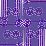 Seamless spirals and stripes pattern purple light gray overlaying shifted Royalty Free Stock Image