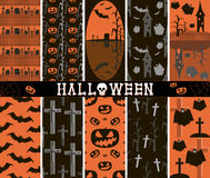 10 seamless spooky Halloween patterns. Set of 10 different seamless spooky Halloween patterns, part 2. Cemeteries, graves, crosses, evil pumpkins, bats, creepy Stock Photography