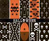 10 seamless spooky Halloween patterns. Set of 10 different seamless spooky Halloween patterns, part 1. Web, spiders, skulls, coffins, crosses and bones. Black Stock Images