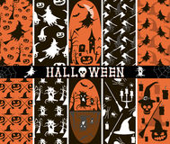 10 seamless spooky Halloween patterns. Set of 10 seamless spooky Halloween patterns, part 3. Witches flying on broomsticks, evil pumpkins, creepy demonic trees Royalty Free Stock Images