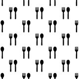 Seamless spoon and fork pattern on white Royalty Free Stock Images