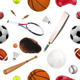 Seamless sport equipment pattern with balls. Creative realistic stock image